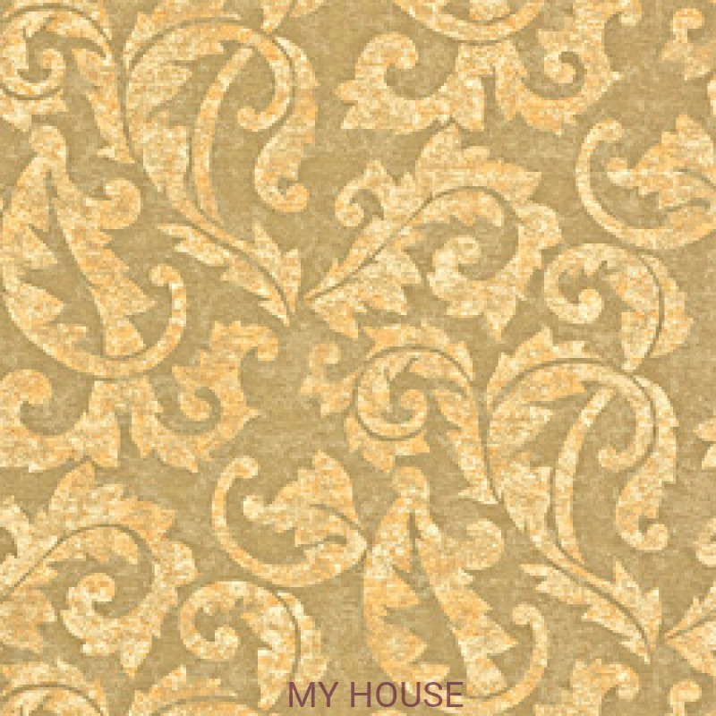 Обои River Road T3862 Ardmore Scroll Metallic on Taupe THIBAUT