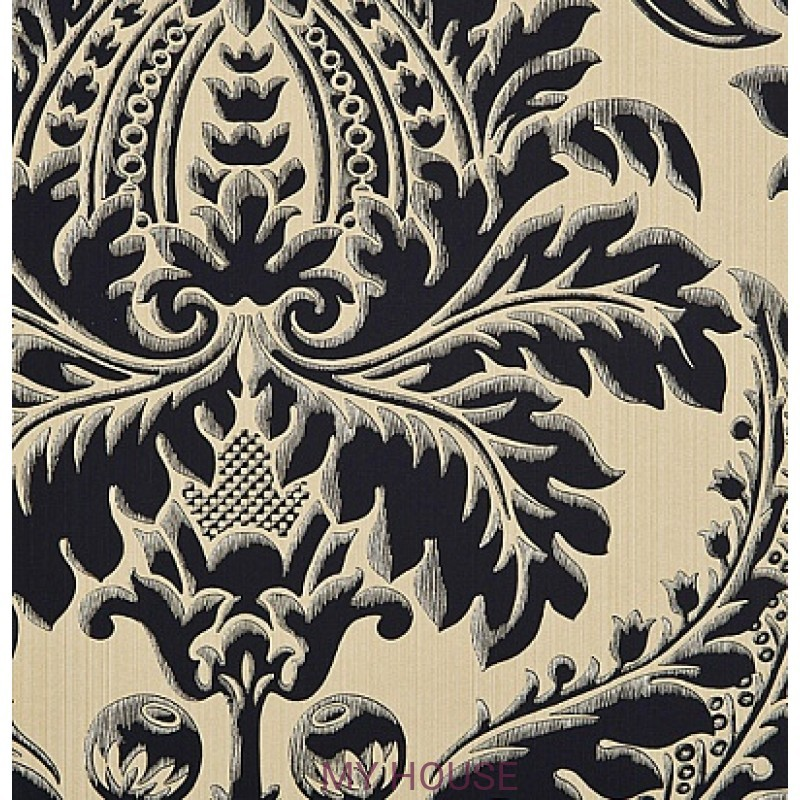 Обои Strie Damask Pattern SDA04005 Malmaison-Black Zoffany