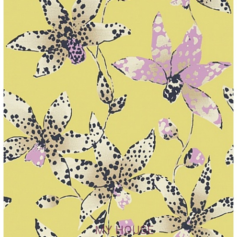 Обои Seraphina AT6046 Spotted orchid Citron Anna French