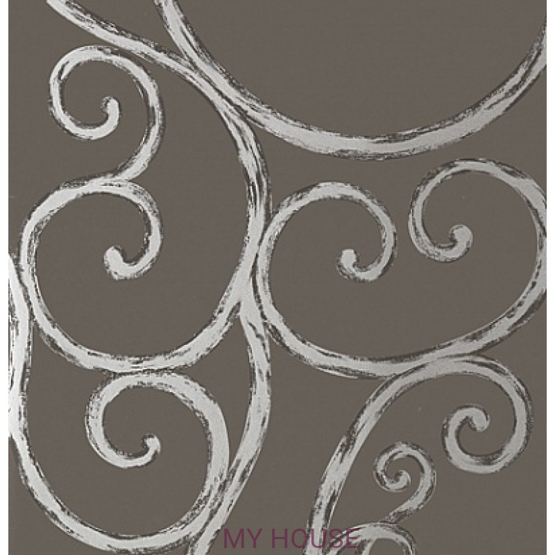 Обои Seraphina AT6052 Palace gate Silver on Charcoal Anna French