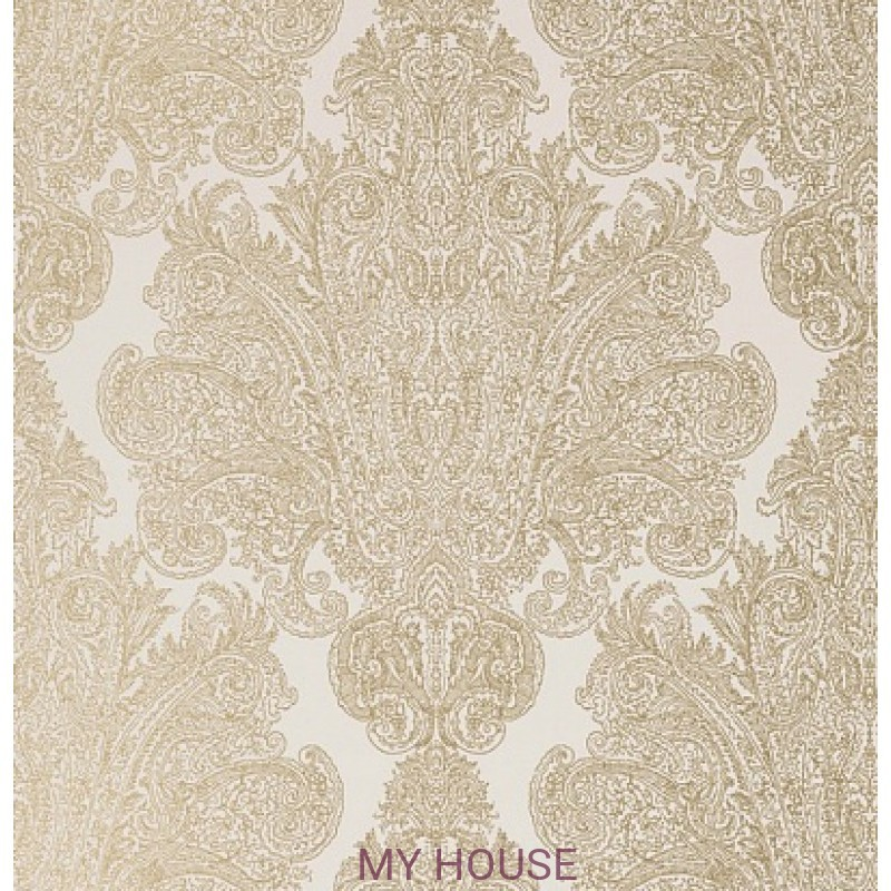 Обои Serenade AT6104 Auburn Metallic gold on linen Anna French