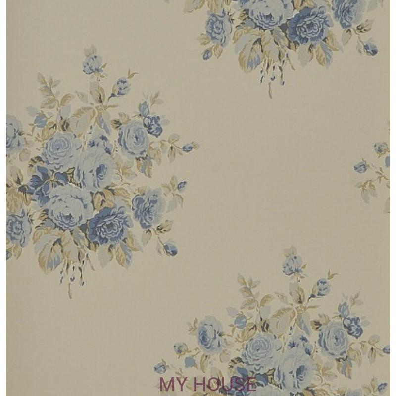 Обои Signature Florals PRL707/07 Wainscott Floral Vintage Blue R
