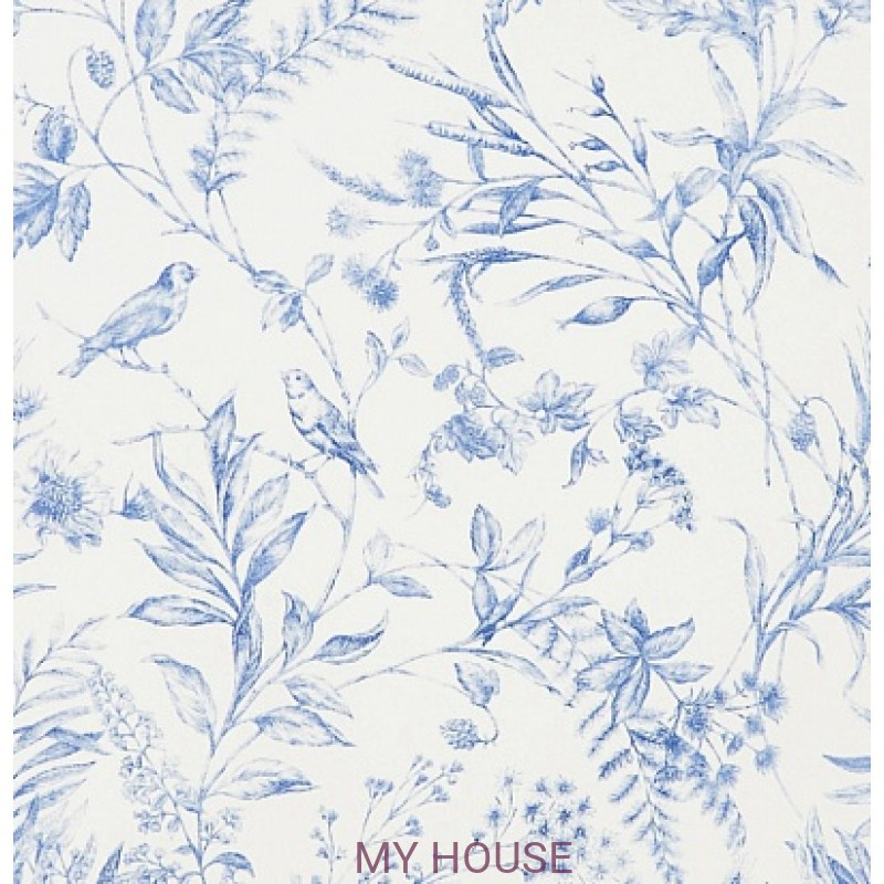 Обои Signature Florals PRL710/02 Fern Toile Bluebell Ralph Laure