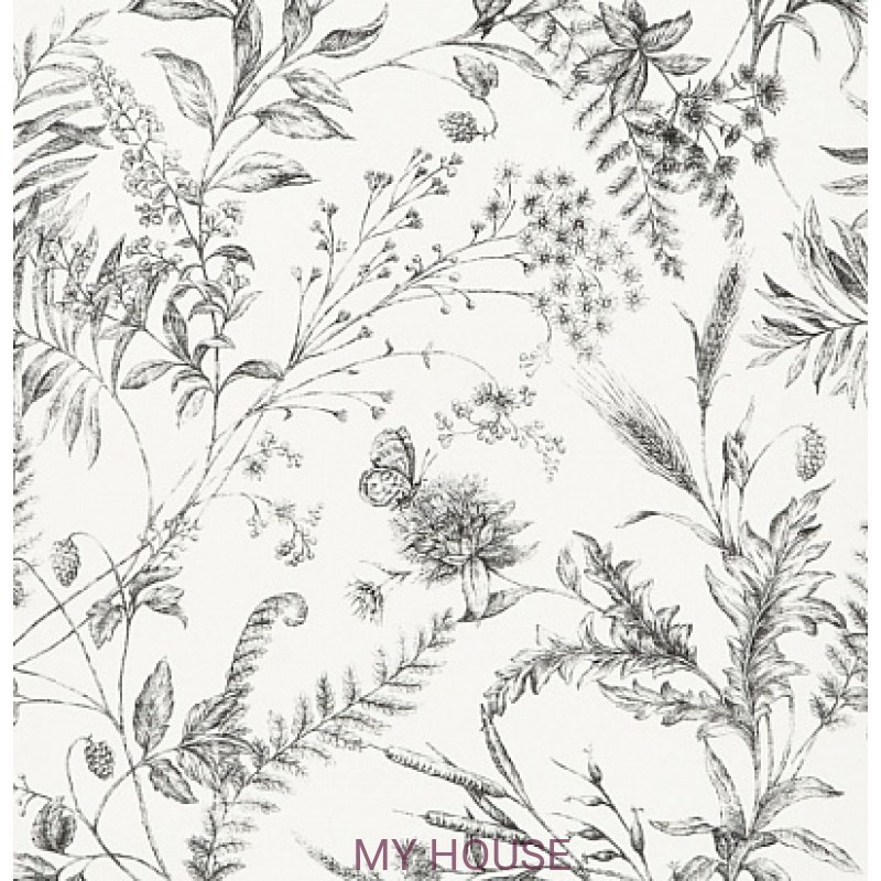 Обои Signature Florals PRL710/04 Fern Toile Black Ralph Lauren